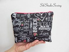 Fun chalkboard font wedding cosmetic bag is the perfect accessory for your favorite bride. Perfect for keeping your makeup, tissues, cell phone, and anything you need on your special day. - Hot pink zipper closure to keep everything safe inside. - White chalkboard font sayings -