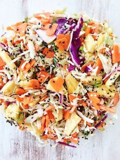 Need to try: Skinny Hawaiian Slaw - perfect side dish to any Hawaiian, tropical, or Asian inspired meal.