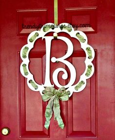 Trim It™ Monogram- Door Hanger Wreath, Wooden Monogram Letter- ribbon holes to customize for any holiday- spring, summer decor- unpainted
