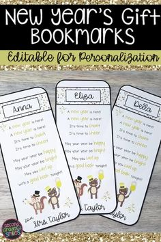Teachers, are you ready to welcome your students back to class after the holiday break? These editable New Year's bookmarks are perfect to gift to students on the first day of the new year! Start the new year with smiles!