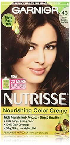 Garnier Nutrisse Nourishing Color Creme, 43 Dark Golden Brown -- You can get more details at http://www.amazon.com/gp/product/B001FZKR6G/?tag=passion4fashion003e-20&pq=110816094732