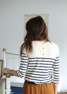 Blue and white striped top with back buttons | Sézane