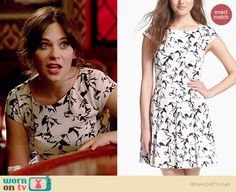 Jess's black and white horse print dress on New Girl.  Outfit Details: http://wornontv.net/37883/ #NewGirl