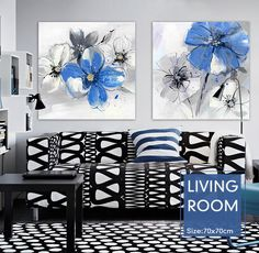 Find More Painting & Calligraphy Information about Black and white ash, Blue flowers Beautiful lines hand oil painting knife painting canvas wall art home decor Free shipping,High Quality art katana,China art decor ideas Suppliers, Cheap decorative art panels from WHAT ART on Aliexpress.com