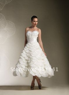 New designer sweetheart layered with pleated organza fish scale rullfes tea length wedding dresses US $139.99