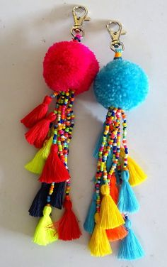 Items similar to Christmas Hanging – Large Pompom and Multi-colored Small Tassels Key Charms /Tassels & Pompom Key Chain., wall hanging on Etsy Christmas Hanging – Large Pompom and Multi-colored Small Tassels Key Charms /Tassels & Pompom Key Ch Pom Pom Crafts, Yarn Crafts, Diy And Crafts, Arts And Crafts, Diy Tassel, Tassels, Handicraft, Creations, Crafty