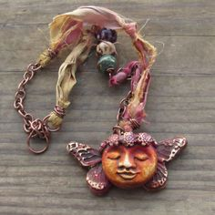 Free Spirit Mixed Media Rustic Boho Gypsy Polymer Clay Necklace on Chain and Sari Silk Ribbon with Ceramic Beads by SpontaneousSoul on Etsy https://www.etsy.com/listing/223837842/free-spirit-mixed-media-rustic-boho