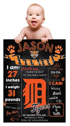 Detroit Tigers Custom Chalk Birthday Poster/ Sports by OhKrop