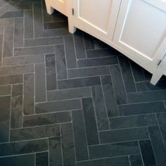 grey ceramic narrow herringbone tile floor - Google Search