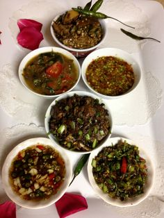 Laotian Jeow (Salsa) Jeow Mak Keua (egg plant) Jeow Mak Lin (tomato) Jeow Het (Mushroom) Jeow Som (traditional Lime) & Pepper Fish Sauce!