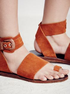 Long Weekend Sandal | Suede sandals featuring ankle wrap closure with western-inspired buckle for an easy on/off. Toe loop and strappy silhouette.