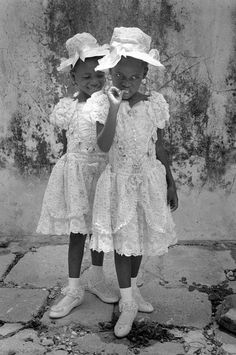 by Cristina Garcia Rodero --- HAITI. Twins waiting to be baptised. Twins are said to possess exceptional spiritual powers that they can give to those who honor them My Black Is Beautiful, Life Is Beautiful, Growing Up Girl, Spanish Woman, Today Pictures, Spiritual Power, Workout Attire, Afro Punk, Female Photographers