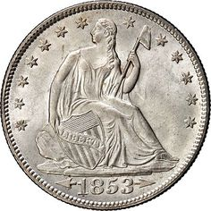 "1853 Seated Liberty Half  PCGS ""MS-66+"" CAC $94,000"