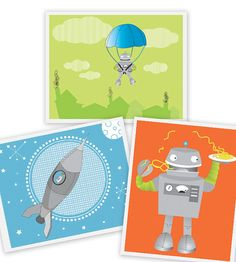 Robot wall art for boys space nursery