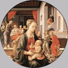 Fra Filippo LIPPI, Madonna with the Child and Scenes from the Life of St Anne 1452 Oil on panel, diameter 135 cm Galleria Palatina (Palazzo Pitti), Florence The Pitti Tondo, one of the most celebrated and most beautiful works of Fra Filippo was executed in about 1452. He began to fresco the enormous choir of the Cathedral of Prato in 1452 (after Fra Angelico had turned down the assignment). He was aided by his chief assistant of the period, Fra Diamante; the work dragged on for years.