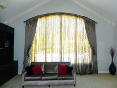 Wood curtain rods - Wooden curtain rods are essential accessories for supporting curtains characterized by different sizes Arched Window Coverings, Curtains For Arched Windows, Window Treatments, Window Curtain Rods, Drapery Rods, Window Curtains, Fancy Curtains, Custom Curtains, Wooden Curtain Rods