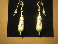 Cloisonne and Sterling Silver Earrings