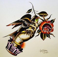 hand bird rose tattoo flash