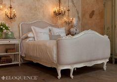 v Sophia Louis XV Linen Upholstered Bed Antique White at the French Garden House
