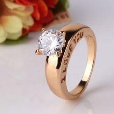 Jolie Bague Solitaire 2Cts I LOVE YOU Diamants cz $90.00