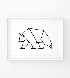 Origami Animals, Bear Art, Bear Print, Geometric Bear, Woodland, Bear, Bear Poster, Bear Printable, Geometric Animal, Forest Animals, Wild, Printable Wall Art
