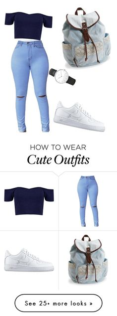 """cute outfit for college"" by mari-ruvalcaba on Polyvore featuring NIKE, Aéropostale and Daniel Wellington"