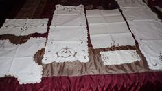 VINTAGE EMBROIDERED ECHRU COLOR TABLECLOTHS/RUNNERS 6 PC.