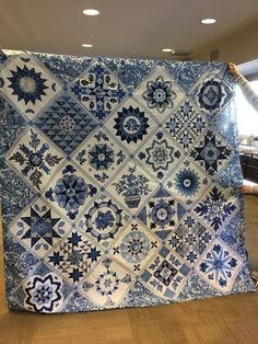 blue and white sampler