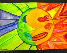 Sharpies, paint, and paper! Oh my!: Picasso Inspired Sun/Moon