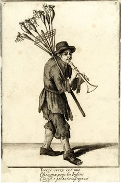 A toy seller playing a trumpet with hobby-horses in a frame on a stick over his right shoulder;   1688, reworked and published after c.1750  Etching and engraving