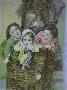 Kids in a Wicker Basket w/ Doll-Victorian Trade Card-James Pyle's Pearline Soap