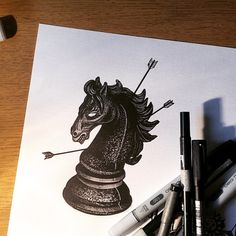 """#chess #piece #horse #morning #drawing #blackworkers #darkartists #hand_job_tattoo #gaelcleinow waiting for your skin @toeloop tattoo //To follow me choose your way •_* On Tumblr"""""""""""" gael-cleinow-tattoo.tumblr.com/ On Facebook••• https://www.facebook.com/GaelCleinow On Instagram*** instagram.com/cleinow (at Toe Loop Tattoo)"""