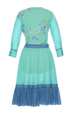 This **Luisa Beccaria** dress features embroidered floral macramé applique detailing, a ruched hemline, and 3/4 length sleeves.