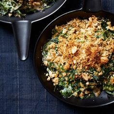 Almond-Milk Creamed Spinach Recipe on Food & Wine - This creamed spinach is so silky and light that you won't miss the cream. The crunchy bread crumb topping is a fantastic addition. Best Asparagus Recipe, Spinach Recipes, Vegetable Recipes, Vegetarian Recipes, Healthy Recipes, Healthy Food, Spinach Salads, Healthy Dinners, Delicious Recipes