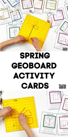 Spring Geoboard Cards~ great for an easy math center for kids. Math Activities For Kids, Spring Activities, Hands On Activities, Fun Math, Steam Activities, Maths, Simple Math, Easy Math, Homeschool Math