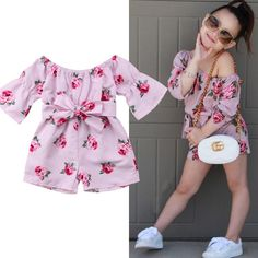 Kids Baby Girl Flower Romper Off Shoulder Bow Jumpsuit Sunsuit Summer Outfits Clothes 2020 Hot Hot Outfits, Girl Outfits, Fashion Outfits, Summer Outfits, Girls Rompers, Baby Rompers, Striped Jumpsuit, Girls Party Dress, Long Sleeve Romper