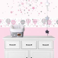 Kinderzimmer Wandsticker Sterne rosa/grau 68-teilig