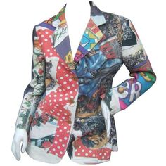Preowned Moschino Mod Op Art Graphic Print Cotton Jacket Ca 1990s (5.272.065 IDR) ❤ liked on Polyvore featuring grey, jackets and moschino