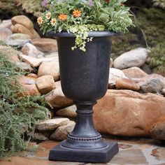 MPG 29 in. H Cast Stone Large Italian Urn in Aged Charcoal Finish-PF4341AC at The Home Depot