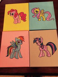 Set of (4) My little pony Canvas