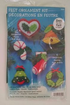Design Works Felt Ornament Embroidery Kit 6 Tree Wreath Bell  3-4 Inch 5320 New…