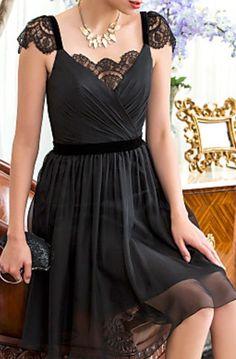 lace shoulder chiffon dress