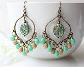 Bronze Creme Green Chandelier Earrings,  Picasso Bohemian Hoops, Large Boho Dangles, Czech Glass, Gypsy Jewelry