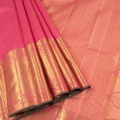 Ghanshyam Sarode Froly Pink Handwoven Kanchipuram Silk Saree with Zari Border & Floral Motifs 10002172 - AVISHYA