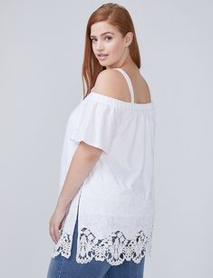 08e4a8024a0 Lace-Hem Off-the-Shoulder Tunic