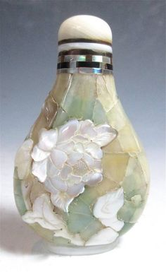 Antique Chinese Snuff Bottle With Mother Of Pearl