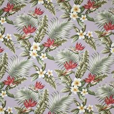 "Maunawili design in color mauve on base cloth of 100% cotton bark crepe. Repeat H-25.5""; V-23.25"