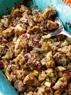 The Absolute Best Thanksgiving Side Dishes   HERBED SAUSAGE, CRANBERRY & APPLE STUFFING   Double – nay, triple – the proportions of thisclassicsweet-and-salty stuffing. People will want more than one serving.
