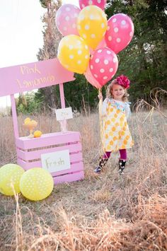 Lemonade stand (easiest would be to tie lemon-colored balloons to chairs, and use simply a well-decorated card table).string paper bunting garland on table, to spell out l-e-m-o-n-a-d-e! 1st Birthday Parties, 2nd Birthday, Birthday Ideas, Minnie Birthday, Polka Dot Balloons, Pink Lemonade Party, Little Girl Photos, Crafts For Kids, Diy Crafts