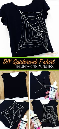 Love this quick and easy wearable project for Halloween! Draw a spiderweb on a black tee with glow-in-the-dark fabric paint. Genius craft idea!
